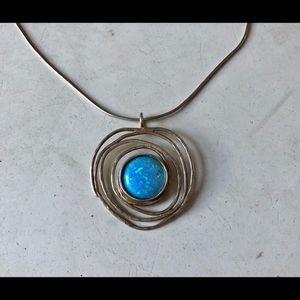 Jewelry - Sterling Silver Created Opal Necklace